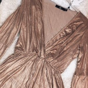 NWT Missguided gold metallic flared wrap romper